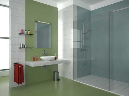 modern bathroom with green, white and blue tiles photo
