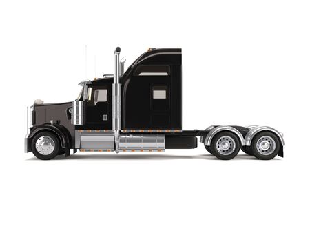 semi truck: black american truck isolated on white