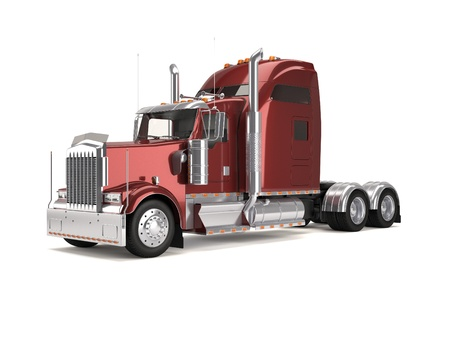 semi truck:  red american truck isolated on white