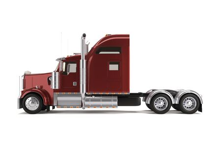red american truck isolated on white