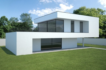 modern house - exterior view with lawn photo