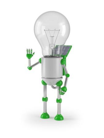 renewable energy - light bulb robot greeting photo