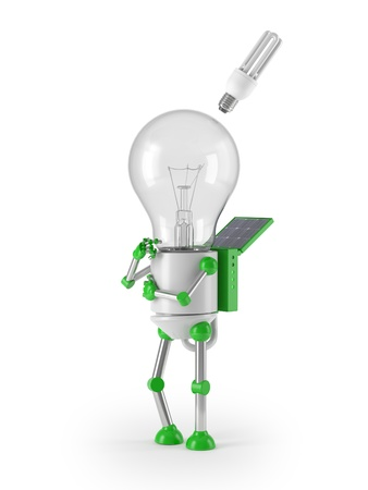 renewable energy - light bulb robot idea photo