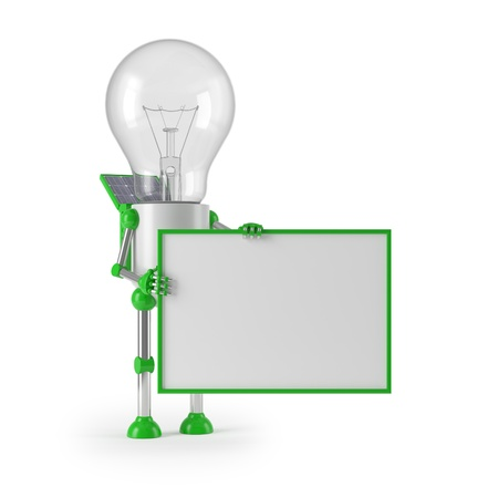 renewable energy - light bulb robot sign photo