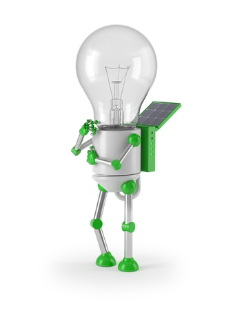 regenerative energie: erneuerbare Energie - Gl�hlampe Robot denken Lizenzfreie Bilder