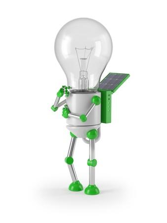 renewable energy - light bulb robot thinking photo
