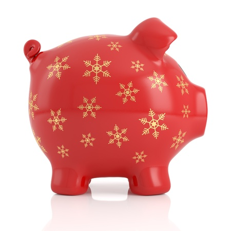 red piggy bank decorated with golden snowflakes