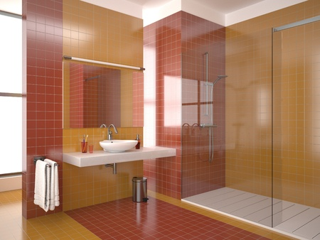 modern bathroom with red and orange tiles Stock Photo