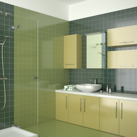 modern green bathroom with yellow furniture