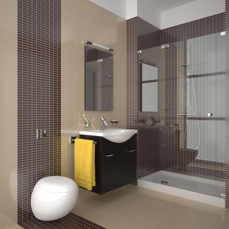 modern bathroom with beige and brown tiles