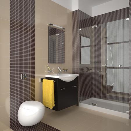 bathroom tiles: modern bathroom with beige and brown tiles