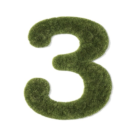 grass font - number 3 Stock Photo