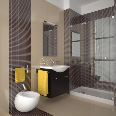modern bathroom with beige tiles photo