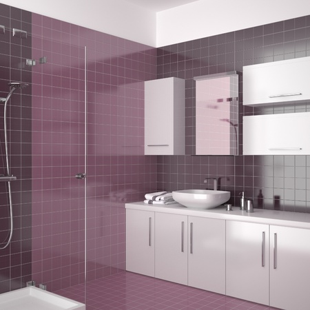 modern bathroom with purple tiles Stock Photo