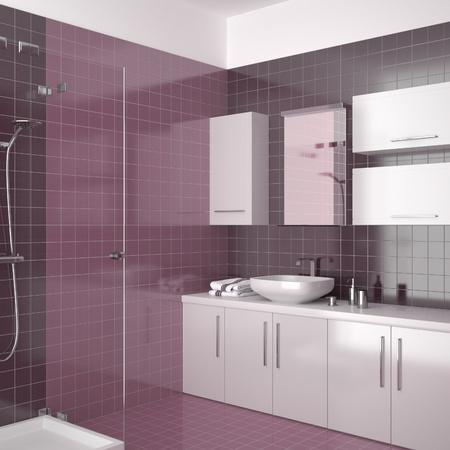 Modernes Badezimmer mit lila Fliesen Standard-Bild - 8638956