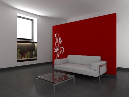 modern living room with red wall Stock Photo - 8638955