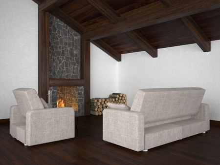 living room with roof beam and fireplace photo