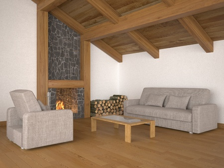 living room with roof beams and fireplace Stock Photo