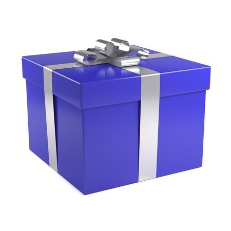 Blue giftdoos met zilveren lint Stockfoto - 8808761