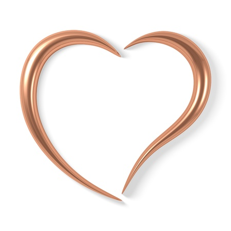 copper background: copper heart Stock Photo
