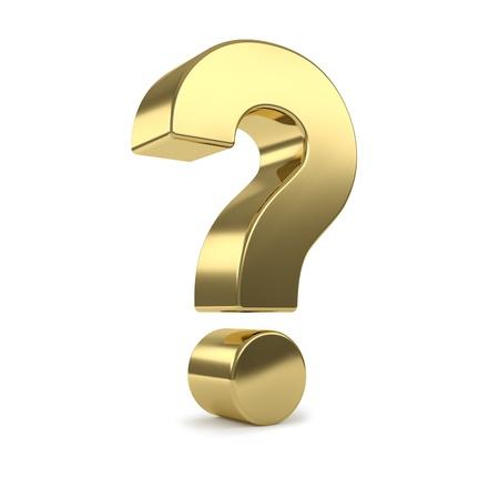 signo de pregunta: oro 3d de signo de interrogaci�n Foto de archivo