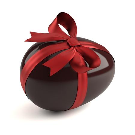 Chocolade paas eieren met rood lint Stockfoto - 8808773