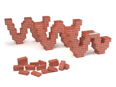 web page under construction with bricks