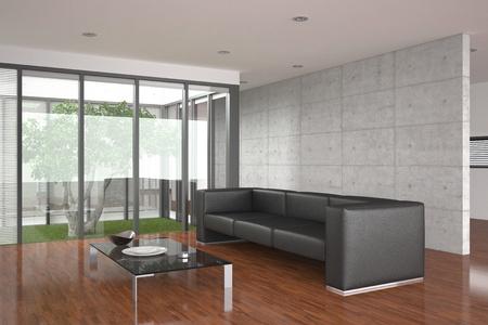 Moderne Wohnzimmer mit Parkettboden Standard-Bild - 9035384