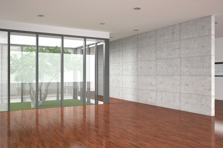 modern empty interior with parquet floor photo