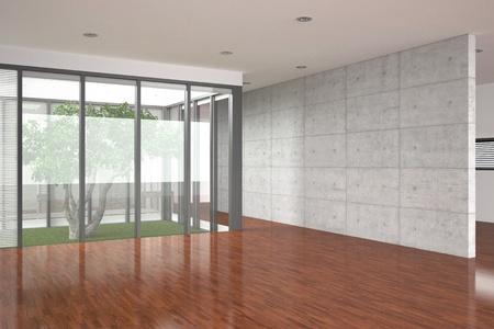 hardwood: modern empty interior with parquet floor Stock Photo
