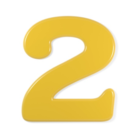 two object: yellow font - number 2