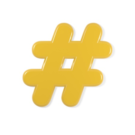 hash: yellow font - hash symbol Stock Photo