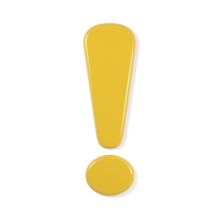 yellow font - exclamation mark Stock Photo