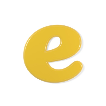 lower case: yellow font - letter e