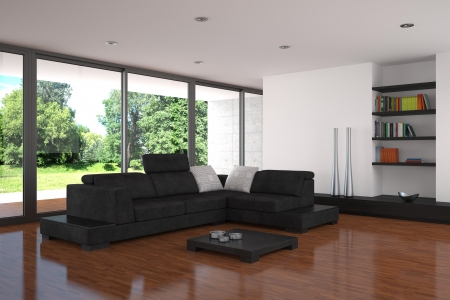 modern living room with parquet floor photo