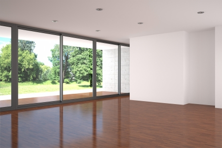 living room minimalist: empty modern living room with parquet floor