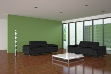 minimalist apartment: modern empty living room with green wall