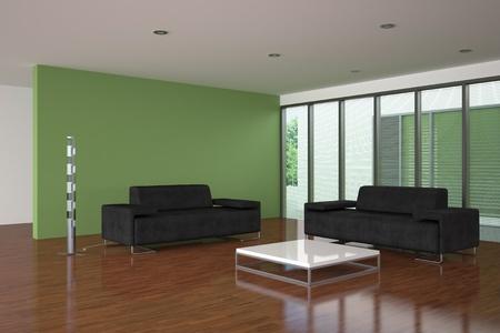 Moderne leere Wohnzimmer mit grüne Wand Standard-Bild - 9243107