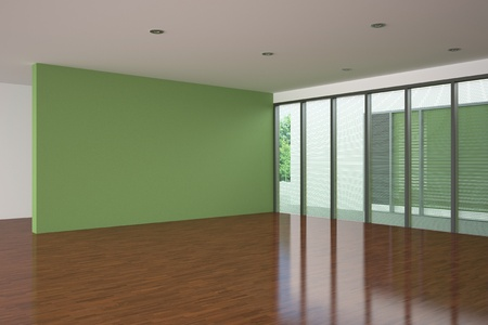 living room design: modern empty living room with green wall