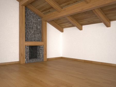 empty living room with fireplace roof beams and parquet floor