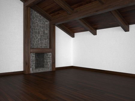 fireplace living room: empty living room with fireplace roof beams and parquet floor