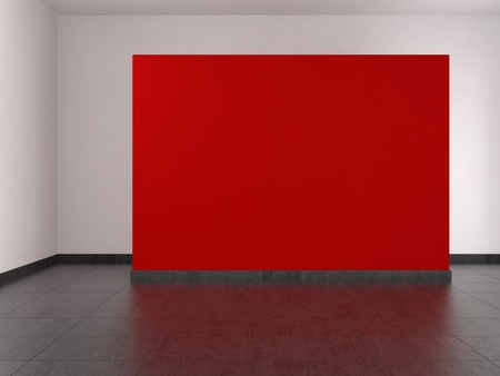 modern empty room with red wall and tiled floor photo