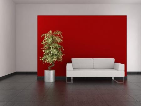 Moderne woonkamer met rode muur en betegelde vloer Stockfoto - 9592392