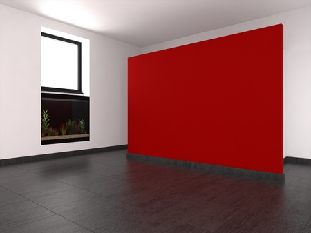 modern empty room with red wall and aquarium photo