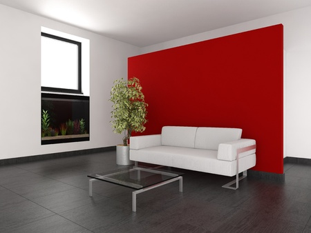 modern living room with red wall and aquarium Stockfoto