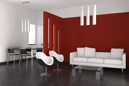 living room minimalist: modern interior with living room dining room and kitchen