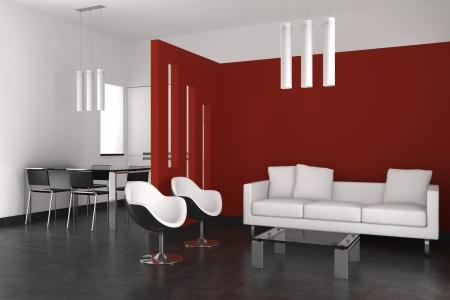 Modernes Interieur mit Wohnzimmer-Esszimmer und Küche Standard-Bild - 9738513