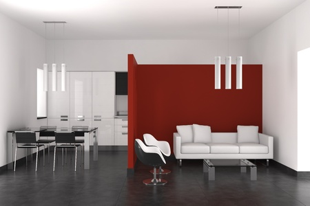 Modernes Interieur mit Wohnzimmer-Esszimmer und Küche Standard-Bild - 9738506