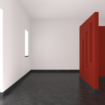 modern empty interior with red wall tiled floor and window