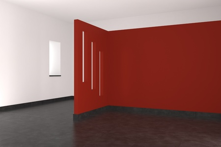 modern empty interior with red wall tiled floor and window photo